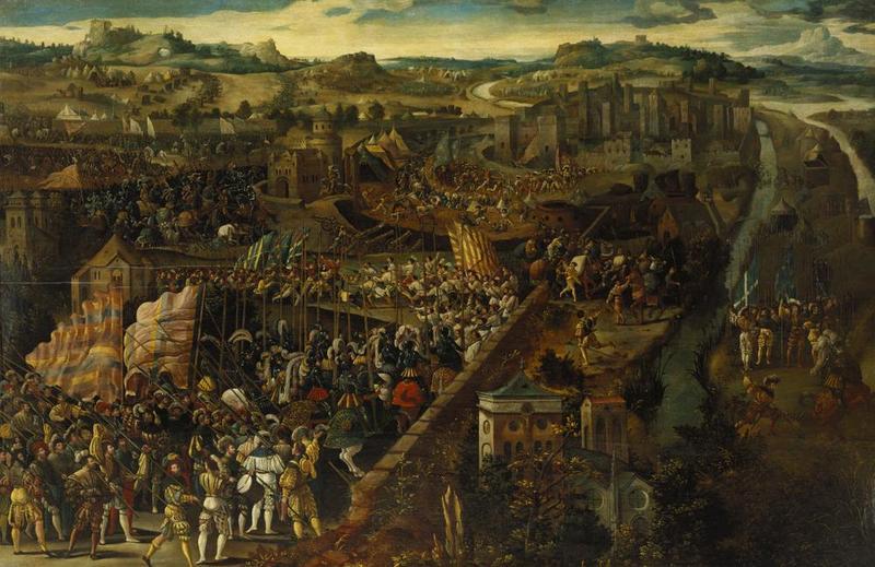 """Фламандская школа (Flemish School), после 1525 г. """"Битва при Павии"""" (Battle of Pavia)д.,м.США, Бирмингем, Художественный музей"""