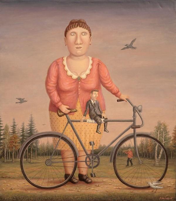 """Владимир Семенович Любаров """"Женщина с велосипедным тандемом на природе"""""""