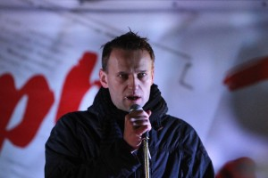 Russian political and social activist Navalny speaks during an opposition protest in central Moscow
