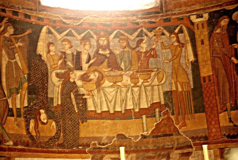 Танец Саломеи, фреска в Монастыре Св. Иоанна, XII в.