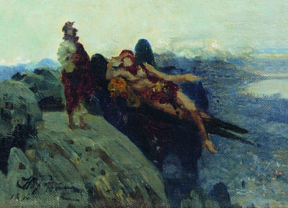 """Эскиз к картине """"Иди за мной, Сатано"""". И. Е. Репин. 1896 г. Холст, масло"""