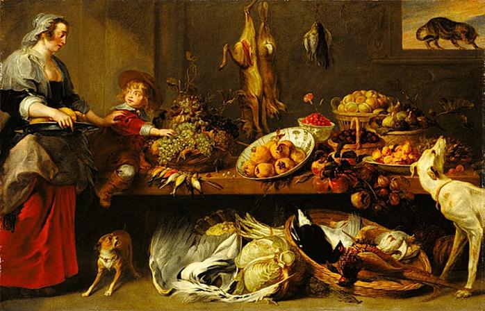 """Снейдерс Франс """"Кухня, натюрморт со служанкой и мальчиком"""", около 1650 г. Музей Гетти"""