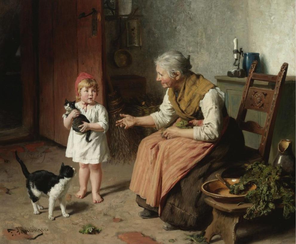 FELIX SCHLESINGER (GERMAN, 1833-1910) - VISITING GRANDMA