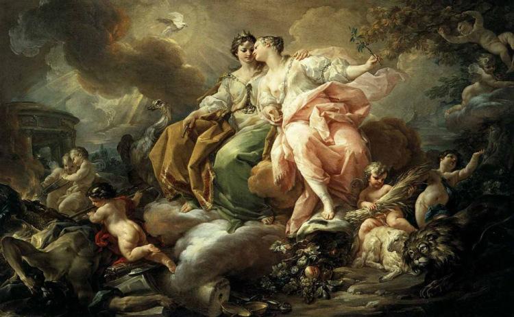 "Коррадо Джакуинто (1703-1765, Italy)  ""Справедливость и Мир"""