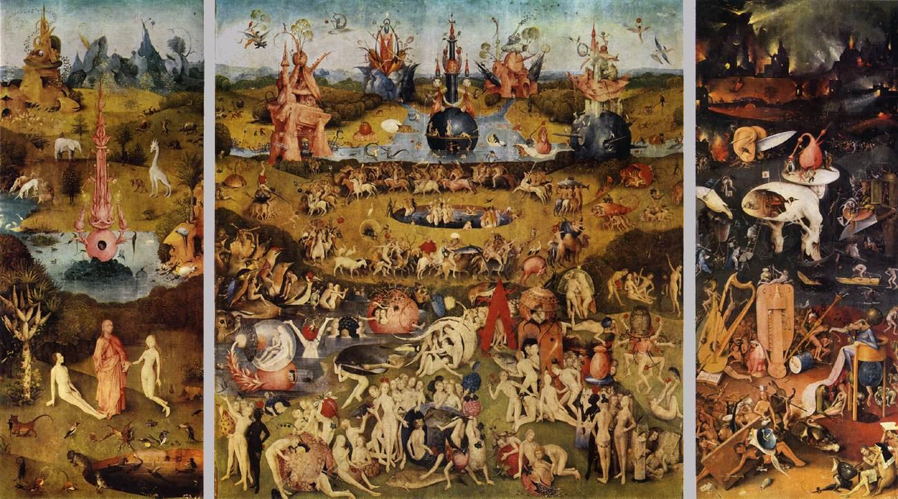 """Иероним Босх, """"Сад земных наслаждений"""", триптих, 1500-1510 гг."""