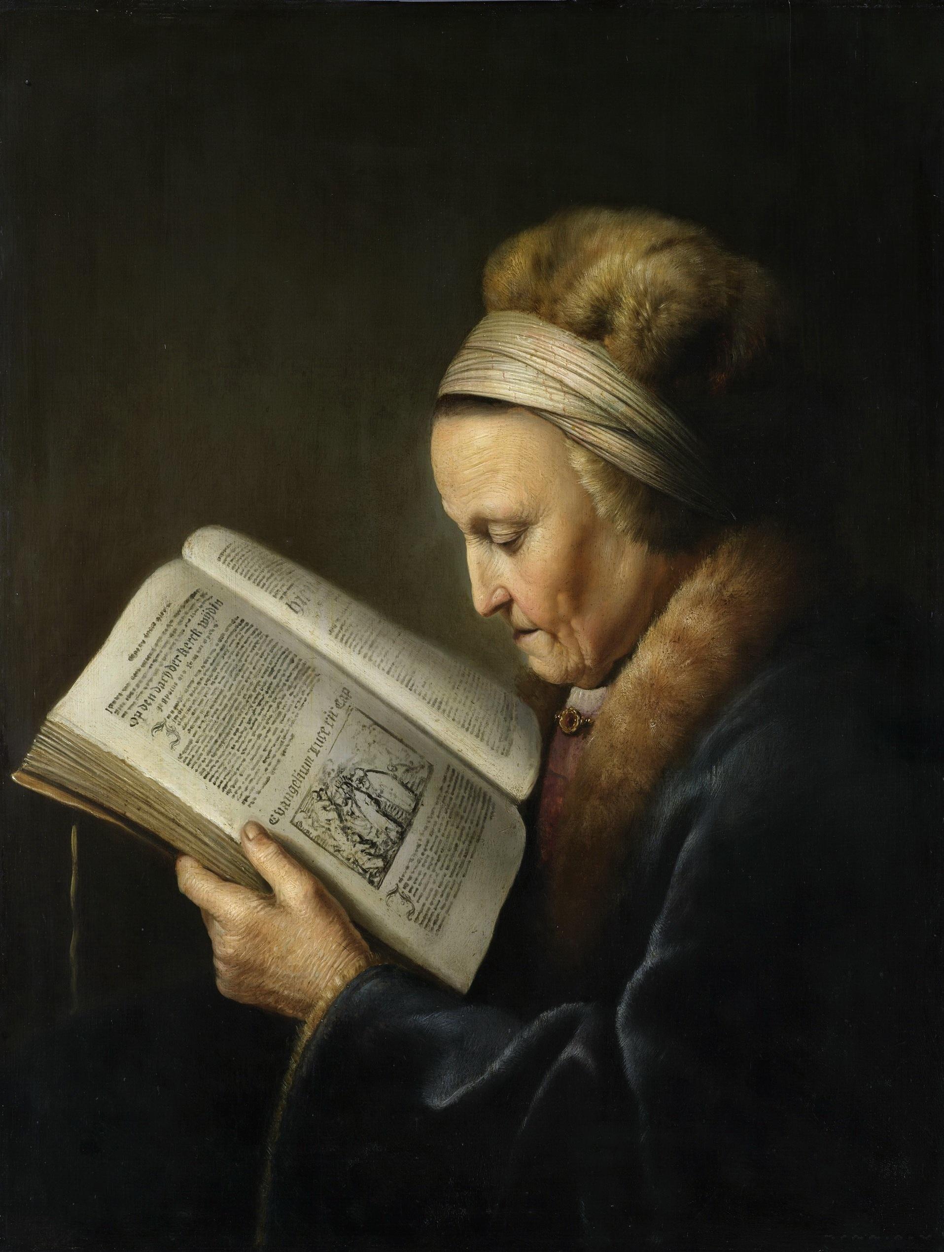 """Геррит (Герард) Доу """"Старая женщина за книгой (Мать Рембрандта)"""""""