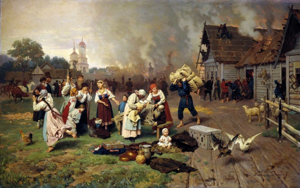 """Николай Дмитриев-Оренбургский (1837-1898) """"Пожар в деревне"""""""