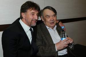 April 8, 2012. - Russia, Moscow. - 25th Nika Awards Ceremony at the Crocus City Hall. In picture: Actor Leonid Yarmolnik and film director Aleksey German.