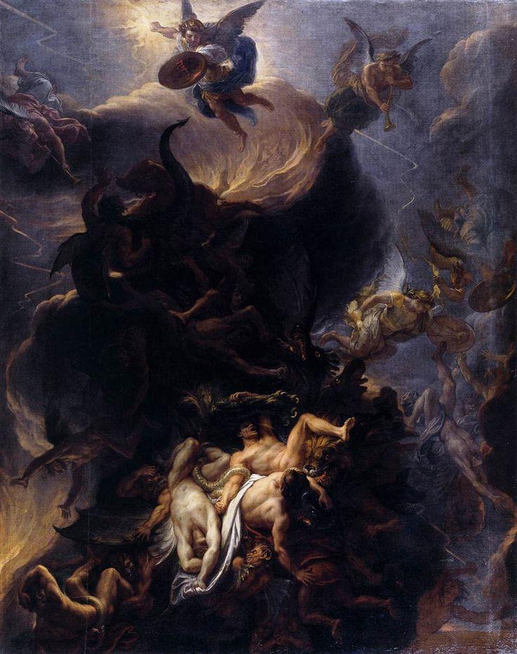 """Шарль Лебрен (1619-1690), """"Падение восставших ангелов"""". После 1680. Музей Дижона"""